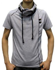 T-shirt homme col montant gris