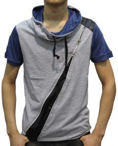 T-shirt homme zippé gris
