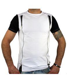 T-shirt homme avec zip blanc