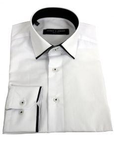 chemise col italien liseret blanc noir