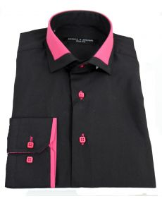 chemise col italien bicolore noir