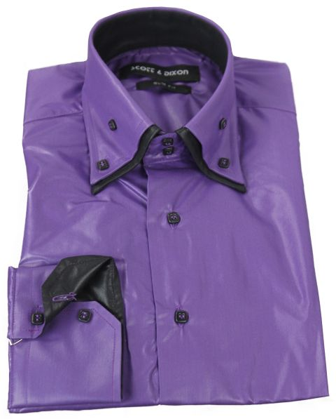 Chemise laqué violet et noir
