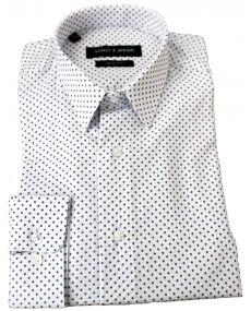 Chemise homme imprimée losange blanche