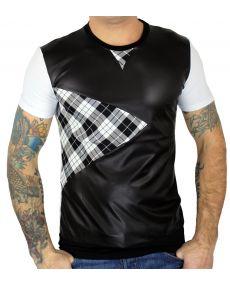 T-shirt homme bi matière noir blanc
