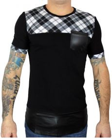 t-shirt oversize bi matière noir blanc