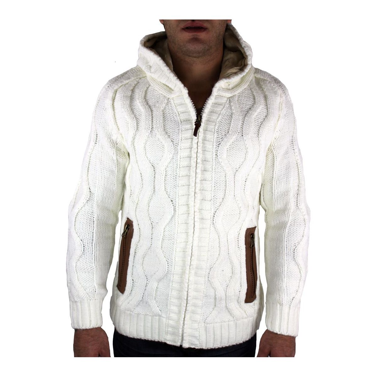 look out for special section new high Gilet homme blanc avec coudière camel pas cher