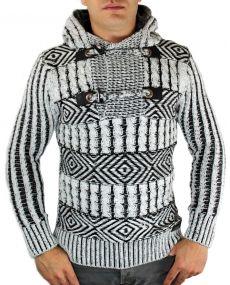 Pull homme en laine à capuche gris