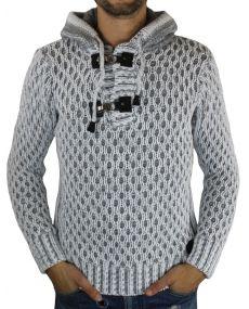 Pull laine homme à capuche gris