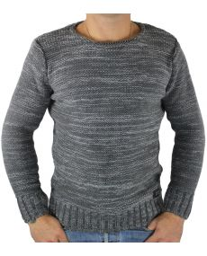 Pull homme col rond gris