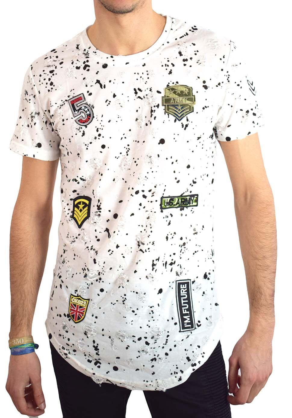 T Oversize Déchiré Homme Patch Shirt Blanc Yy6gvbfI7