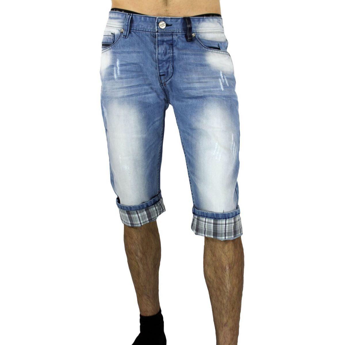 bermuda homme en jean clair d lav 60 short homme en jean. Black Bedroom Furniture Sets. Home Design Ideas
