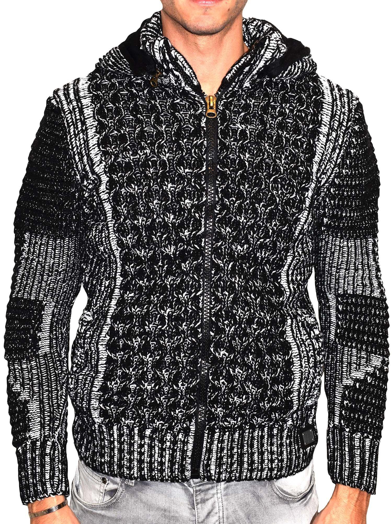 Gilet en laine homme avec capuche noir 3def319646a9