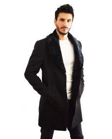 Manteaux noir homme col fourrure noir