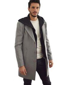 Manteau homme gris capuche amovible