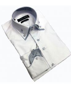 Chemise double col laque blanc gris
