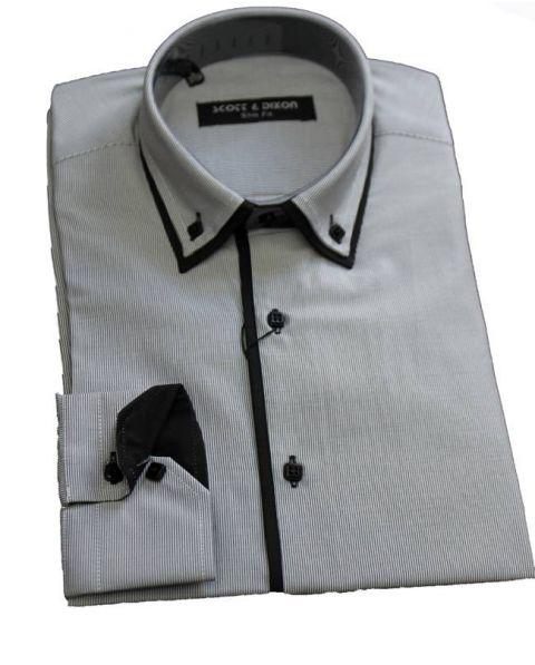 chemise double col rayé blanc noir