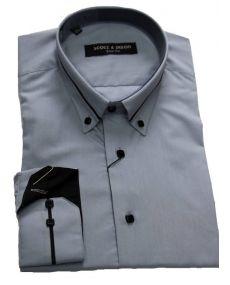 Chemise col italien gris noir