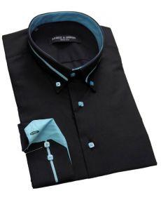 Chemise col italien noir turquoise
